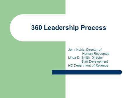 360 Leadership Process John Kuhls, Director of Human Resources Linda D. Smith, Director Staff Development NC Department of Revenue.