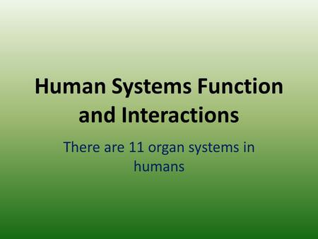 Human Systems Function and Interactions There are 11 organ systems in humans.