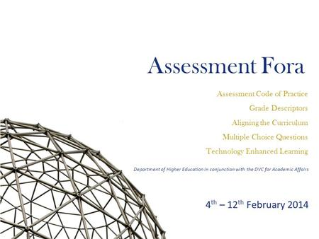 Assessment Fora Assessment Code of Practice Grade Descriptors Aligning the Curriculum Multiple Choice Questions Technology Enhanced Learning Department.