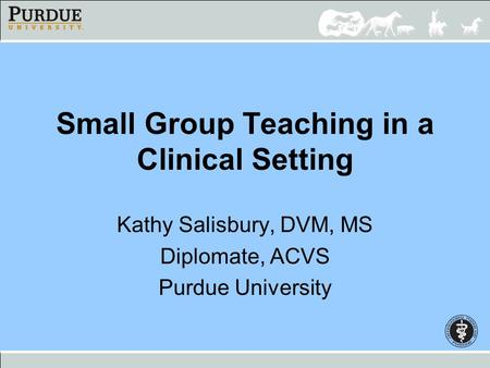 Small Group Teaching in a Clinical Setting Kathy Salisbury, DVM, MS Diplomate, ACVS Purdue University.