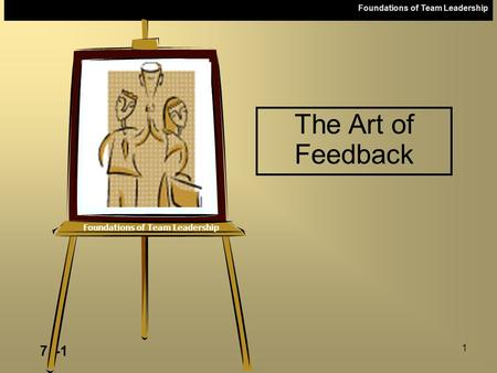 Foundations of Team Leadership 7a-1 1 Foundations of Team Leadership The Art of Feedback.