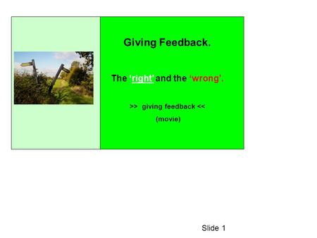 Giving Feedback. The right and the wrong. >> giving feedback << (movie) Slide 1.