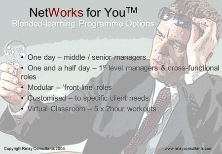 NetWorks for You TM One day – middle / senior managers One day – middle / senior managers One and a half day – 1 st level managers & cross-functional roles.