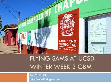 FLYING SAMS AT UCSD WINTER WEEK 3 GBM Jan 23 2013
