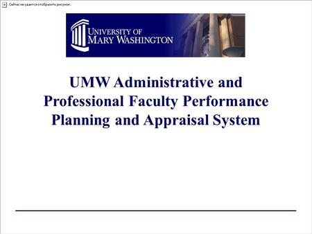 UMW Administrative and Professional Faculty Performance Planning and Appraisal System.