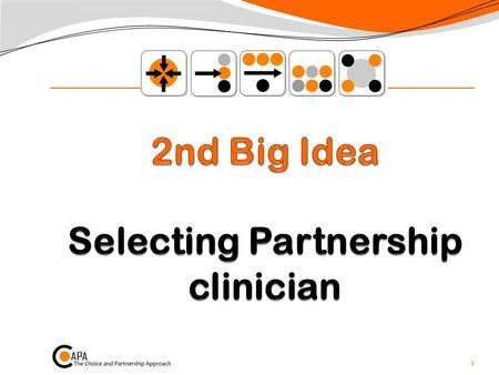 1. Selecting Partnership Clinician p64-68 This is At the end of the Choice appointment With the young persons and familys goals in mind Selecting a clinician.
