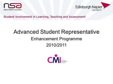 Advanced Student Representative Enhancement Programme 2010/2011.