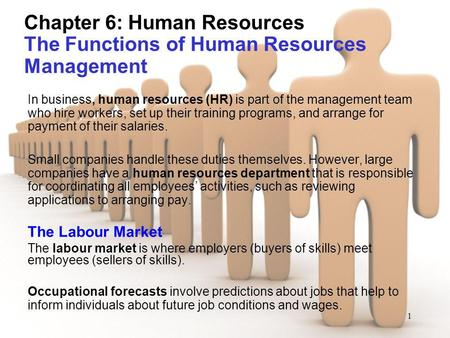 1 Chapter 6: Human Resources The Functions of Human Resources Management In business, human resources (HR) is part of the management team who hire workers,