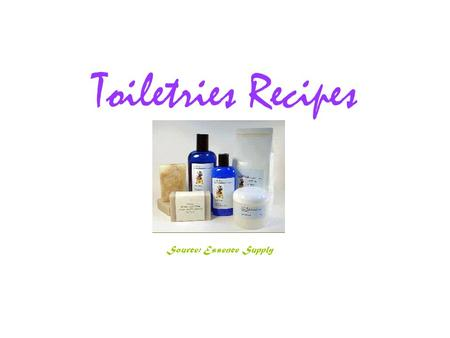 Toiletries Recipes Source: Essence Supply. Silken Linen or Body Powder This combination of ingredients make an excellent silky powder. 1/2 cup of arrowroot.