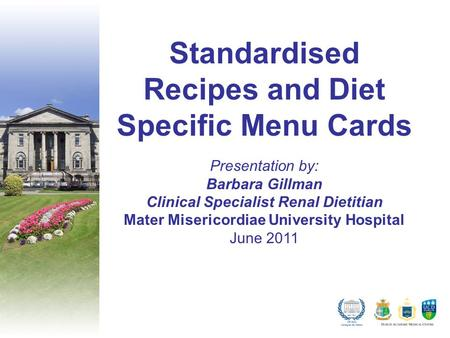 Standardised Recipes and Diet Specific Menu Cards