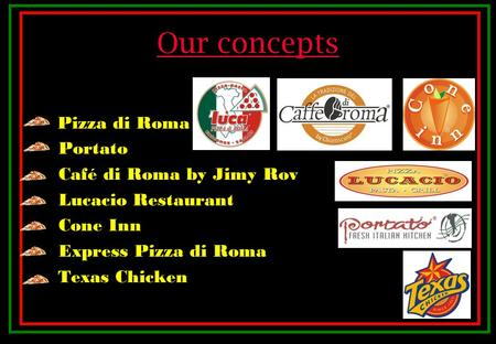 Our concepts Pizza di Roma Portato Café di Roma by Jimy Rov Lucacio Restaurant Cone Inn Express Pizza di Roma Texas Chicken.