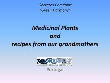 Socrates-Coménius Green Harmony Medicinal Plants and recipes from our grandmothers Portugal.