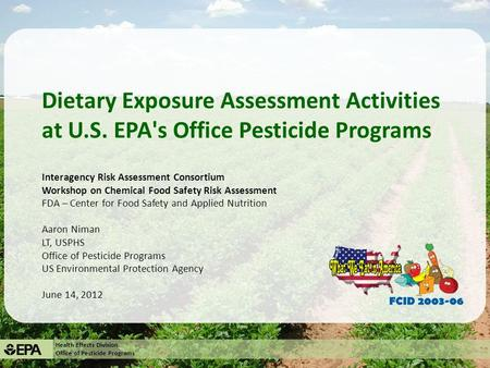 Dietary Exposure Assessment Activities at U. S