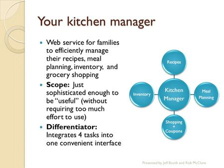 Your kitchen manager Web service for families to efficiently manage their recipes, meal planning, inventory, and grocery shopping Scope: Just sophisticated.