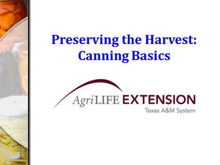 Preserving the Harvest: Canning Basics. Canning Basics How does canning (processing) preserve food? 1.Creates an airtight seal of the lids 2.The heat.