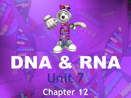 DNA & RNA Unit 7 Chapter 12. DNA Deoxyribonucleic Acid RNA Ribonucleic Acid.