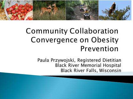 Paula Przywojski, Registered Dietitian Black River Memorial Hospital Black River Falls, Wisconsin.