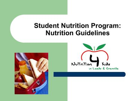 Student Nutrition Program: Nutrition Guidelines. Outline Nutrition for kids How to speak Label-ese (how to read the new food labels) Nutrition guidelines.