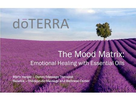 The Mood Matrix: Emotional Healing with Essential Oils Marty Harger – Owner/Massage Therapist Balance – Therapeutic Massage and Wellness Center.