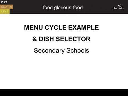 Food glorious food MENU CYCLE EXAMPLE & DISH SELECTOR Secondary Schools.