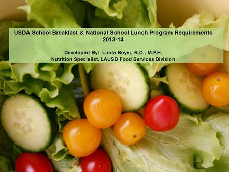 USDA School Breakfast & National School Lunch Program Requirements 2013-14 Developed By: Linda Boyer, R.D., M.P.H. Nutrition Specialist, LAUSD Food Services.