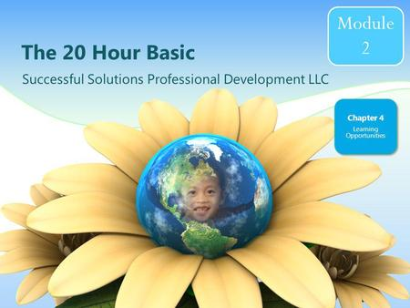 The 20 Hour Basic Successful Solutions Professional Development LLC Chapter 4 Learning Opportunities Module 2.