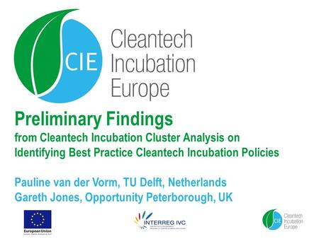 Preliminary Findings from Cleantech Incubation Cluster Analysis on Identifying Best Practice Cleantech Incubation Policies Pauline van der Vorm, TU Delft,