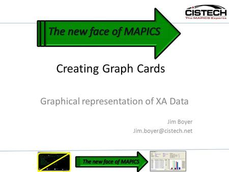 Creating Graph Cards Graphical representation of XA Data Jim Boyer