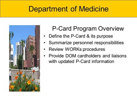 P-Card Program Overview Define the P-Card & its purpose Summarize personnel responsibilities Review WORKs procedures Provide DOM cardholders and liaisons.