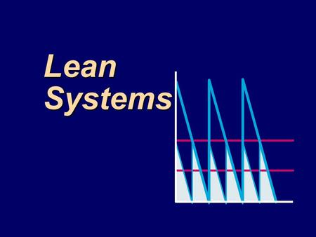 Lean Systems. Characteristics of Lean Systems: Just-in-Time Pull method of materials flow Pull method of materials flow Consistently high quality Consistently.