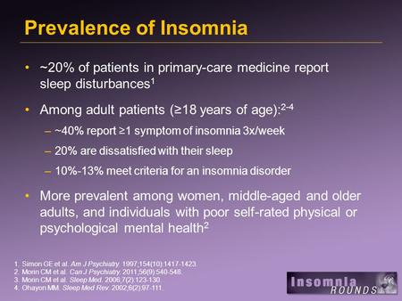 Prevalence of Insomnia ~20% of patients in primary-care medicine report sleep disturbances 1 Among adult patients (18 years of age): 2-4 –~40% report 1.