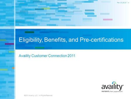 Eligibility, Benefits, and Pre-certifications Availity Customer Connection 2011 ©2011 Availity, LLC | All Rights Reserved 1 Rev.03.28.2011.4.