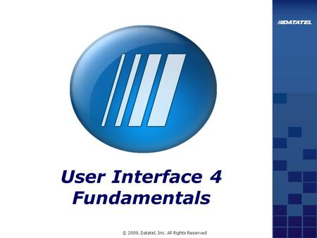 © 2009, Datatel, Inc. All Rights Reserved User Interface 4 Fundamentals.