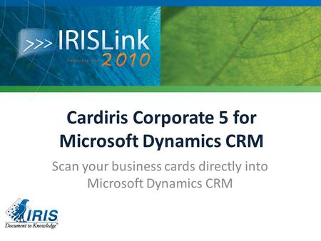 Cardiris Corporate 5 for Microsoft Dynamics CRM