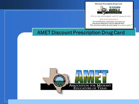 Company LOGO AMET Discount Prescription Drug Card.
