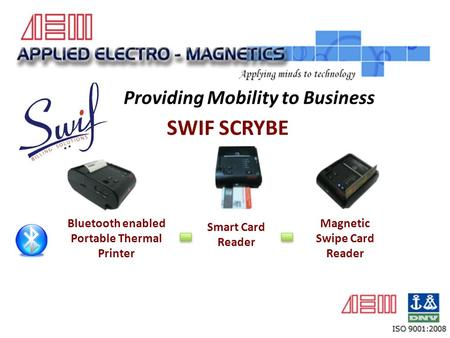 SWIF SCRYBE Providing Mobility to Business Bluetooth enabled Portable Thermal Printer Smart Card Reader Magnetic Swipe Card Reader.