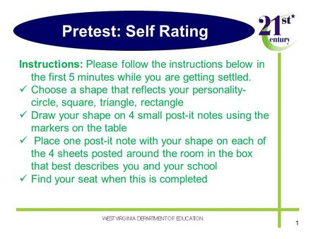 Pretest: Self Rating Instructions: Please follow the instructions below in the first 5 minutes while you are getting settled. Choose a shape that reflects.