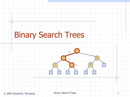 © 2004 Goodrich, Tamassia Binary Search Trees1 6 9 2 4 1 8.