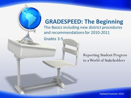 GRADESPEED: The Beginning The Basics including new district procedures and recommendations for 2010-2011 Grades 3-5 Updated Summer 2010 Reporting Student.