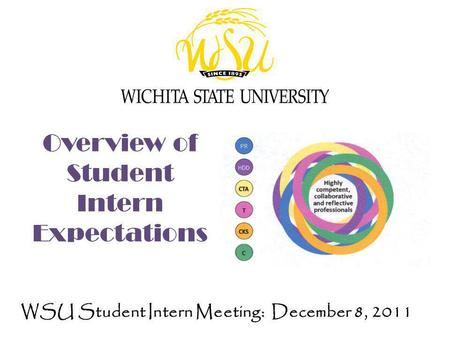 Overview of Student Intern Expectations WSU Student Intern Meeting: December 8, 2011.