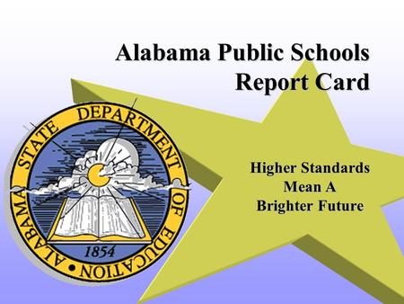 Alabama Public Schools Report Card Higher Standards Mean A Brighter Future.