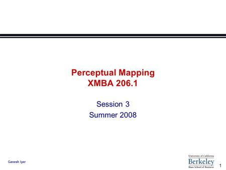 1 Ganesh Iyer Perceptual Mapping XMBA 206.1 Session 3 Summer 2008.