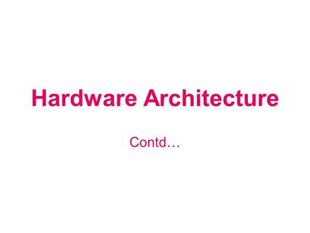 Hardware Architecture Contd…. MEMORY Memory ROM: For BIOS (Basic Input Output System) CMOS RAM: Battery-backed memory used to store system specific parameters.