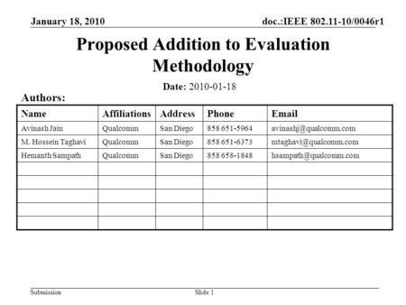 SubmissionSlide 1 Proposed Addition to Evaluation Methodology Date: 2010-01-18 Authors: NameAffiliationsAddressPhoneEmail Avinash JainQualcommSan Diego858.