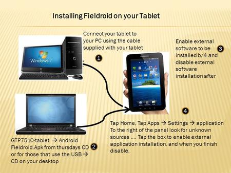 Installing Fieldroid on your Tablet GTP7510-tablet Android Fieldroid.Apk from thursdays CD or for those that use the USB CD on your desktop Tap Home, Tap.