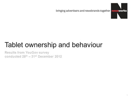 Tablet ownership and behaviour 1 Results from YouGov survey conducted 28 th – 31 st December 2012.