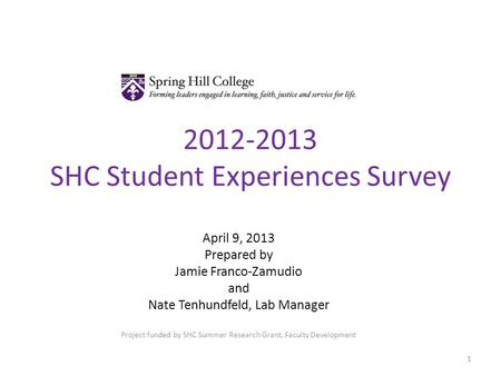 2012-2013 SHC Student Experiences Survey April 9, 2013 Prepared by Jamie Franco-Zamudio and Nate Tenhundfeld, Lab Manager Project funded by SHC Summer.