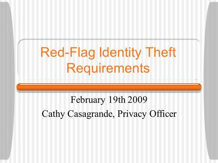 Red-Flag Identity Theft Requirements February 19th 2009 Cathy Casagrande, Privacy Officer.