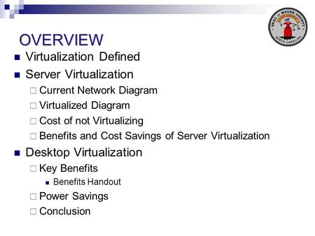 OVERVIEW Virtualization Defined Server Virtualization Current Network Diagram Virtualized Diagram Cost of not Virtualizing Benefits and Cost Savings of.