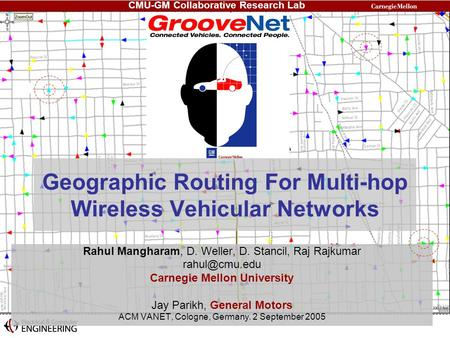 Geographic Routing For Multi-hop Wireless Vehicular Networks